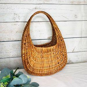 Other - Woven Rattan Wicker Basket Wall Shelf Decor